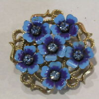 """AVON Vintage Flower Brooch Blue Rhinestone Enamel Metal 1.5"""""""