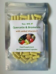 Quercetin Bromelain 500mg Capsules with Vitamin C - Immune Support, Inflammation