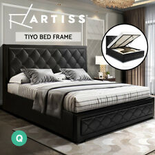 Artiss Bed Frame Queen Size Gas Lift Base With Storage Mattress Leather