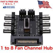 Fan 1 to 8 Channel Hub 12V 3-pin SATA Power Supply Splitter Adapter PC Fan USA