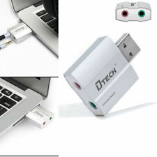 DTECH USB External Sound Card Audio Adapter 2 3.5mm Headphone Mic Jack Converter