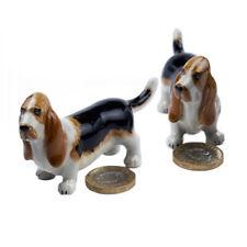 Miniature Ceramic Basset Hound Figurine Ornament (Pack of Two)