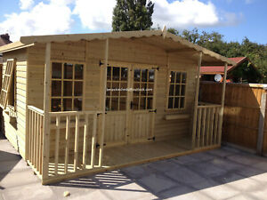 14x12 Summerhouse garden room shed cabin garden office man cave FITTED SEE BELOW