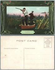 HUNTING MEN w/ RIFLE IN THE BOAT ANTIQUE POSTCARD