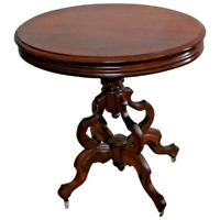 Antique Victorian Oval Table on Casters solid hardwood carved legs