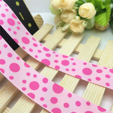 NEW DIY 5 Yards 1'' 25mm Pink Circle Printed Grosgrain Ribbon Hair Bow Sewing