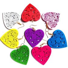 Wooden Hearts Earrings -Different Colours Available- Drop Dangle Jewellery Gift