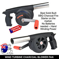 NEW BBQ CHARCOAL GRILL BEADS FIRE STARTER POWERFUL FAN BLOWER LARGE HAND CRANK