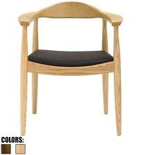 Natural Modern Oak Wood PU Leather Cushion Kennedy Arm Dining Chair Kitchen Work