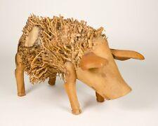Vintage Solid Wood Bamboo Root Pig Farm Animal Figurine Home Decor Barn Rustic