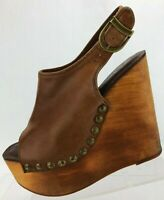 Jeffrey Campbell Wedge Slingback Sandals Brown Snick Wood Platform Womens US 6 M