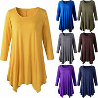 Women Cotton 3/4 Sleeve Tunic Top Loose Plus Size Fit Flare Solid T Shirt Blouse