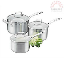 Genuine! SCANPAN Impact 18/10 S/S 3 Piece Saucepan Set 16/18/20cm! RRP $315.00!