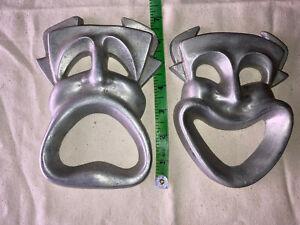 Vintage SET Pewter Smile Now Cry Later Masks Deco