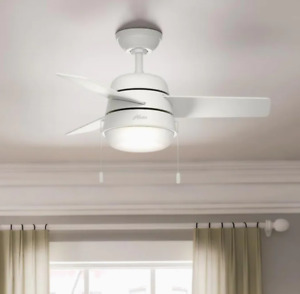 "Hunter Aker 36"" Indoor Ceiling Fan with LED Light - White"