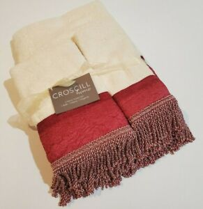 CROSCILL PARK AVENUE 3PC Towel Set 1xBath 1xHand 1xFinger Tip New With Tags