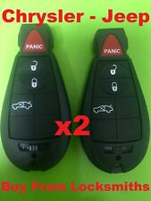 2 x Jeep Chrysler Dodge 300C LE LX Button Key Remote Fob Case Blank Shell