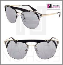 a7c5c9ba76d99 PRADA ORNATE Cat Eye Pale Gold Black Brow Bar Mirrored Sunglasses 53U PR53US