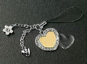 Picture Photo Jewelry Crystal Heart Cell Phone Charm Silver Plated Flower Strap
