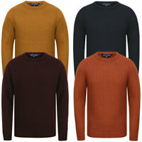 Tokyo Laundry Men's Textured Panel Wool Mix Crew Neck Knitted Jumper Sweater Top