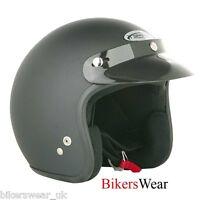 SPADA Plain Black Matt Open Face Motorcycle Helmet Size XS-2XL