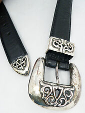 Authentic Vintage 1993 Chrome Hearts Sterling Silver Leather Belt Size 30
