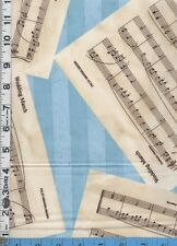 Fabric Blue Hill WEDDING MARCH Sheet  MUSIC toss BLUE BTHY