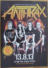 Anthrax in Israel 2013 Hebrew Handbill Free Shipping
