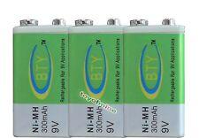 3pcs 9V 300mAh Ni-MH Rechargeable Battery Brand New