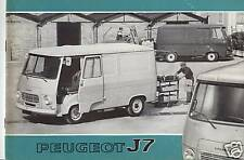 catalogue  PEUGEOT  J 7    toutes  carrosseries    juillet 1972