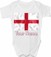 ENGLAND ST GEORGE'S FLAG PERSONALISED BABY VEST / GRO /BODYSUIT *GIFT & NAMED*