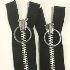 Vintage 60s Metal Zipper Ring Pull Silver Black #6 #8 Separating Made In USA