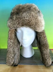 MAD BOMBER Hickory Brown Leather Rabbit Fur Aviator Trapper Hat - Men's Large
