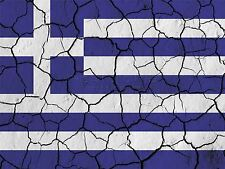PRINT PAINTING ABSTRACT FLAG CRACKED CONCRETE GREECE GREEK BLUE WHITE LFMP0165