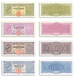 RIPRODUZ 50 100 500 1000 LIRE ITALIA TURRITA LIRA FDS LUOGOTENENZA CATALOGO ALFA