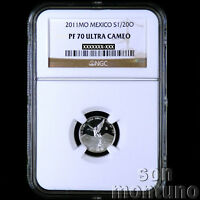 NGC PF 70 ULTRA CAMEO - 2011 Mexico 1/20 TWENTIETH OZ SILVER LIBERTAD PROOF Coin