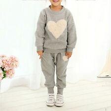 Bebés Niñas Corazón Jersey Suéter Top Pantalones Informales Trajes Juego ropa