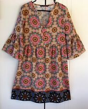 Womens Zara Basic Contrast Print Multi Colored Flare Sleeve Tunic Dress Size S