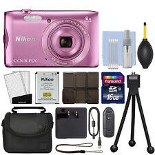Nikon Coolpix A300 20.1MP Digital Camera 8x Optical Zoom Pink Wi-Fi + 16GB Kit
