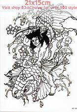 UK 21X15CM Big Carp Uomo PUGNALE 3D MAN LADY Body Art Tatuaggio Temporaneo BRACCIO POSTERIORE