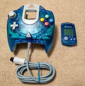 Official Blue Sega Dreamcast Controller w/ VMU - Cleaned and Tested!