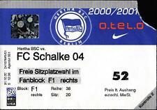 Ticket BL 2000/01 Hertha BSC - Schalke 04, 18.11.2000