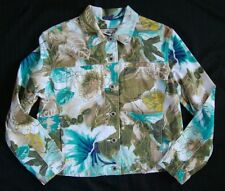 Caribbean Joe Cotton Spandex Floral Jacket sz,PM   NEW