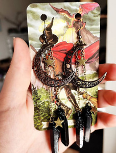Handmade Black Crystal Earrings Natural Quartz Unique Statement Earrings witchy