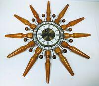 "MCM E633-000 Seth Thomas  Starburst Atomic Sputnik Teak Wall Clock 24"""