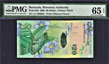 Bermuda $20 Hybrid Polymer 2009 1st Prefix LOW # A/1 000024 P-60a GEM UNC PMG 65
