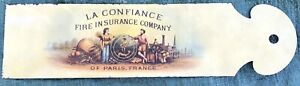 La Confiance Fire Insurance Company Tin Antique Ledger Marker Paper Cutter Paris