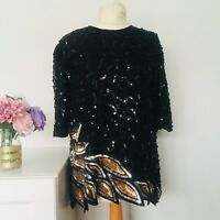 FRANK USHER Top Size Medium UK 12 BLACK GOLD | SILK Sequin SMART Evening PARTY