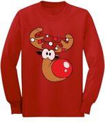 Cute Reindeer Lights Girl / Boy Christmas Toddler/Kids Long sleeve T-Shirt Xmas