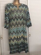 Lovely Black Grey Aqua White Yellow Chevron Design Dress 3/4 Sleeves Gold Bar 2X